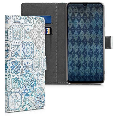 kwmobile Carcasa Compatible con Samsung Galaxy A70 - Funda de Cuero sintético Azulejos Cuadrados - con Tarjetero