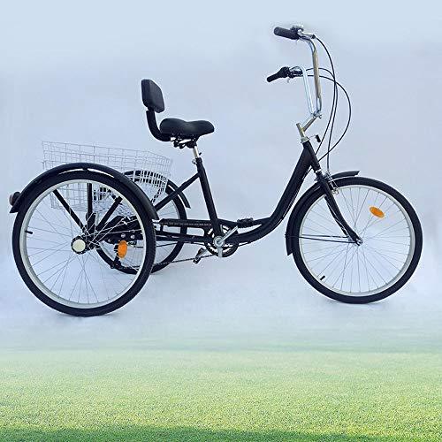 Aohuada Triciclo para adultos de 24 pulgadas, 6 marchas, 3 ruedas, 24 pulgadas, para personas mayores, compras, para adultos, triciclo (negro)