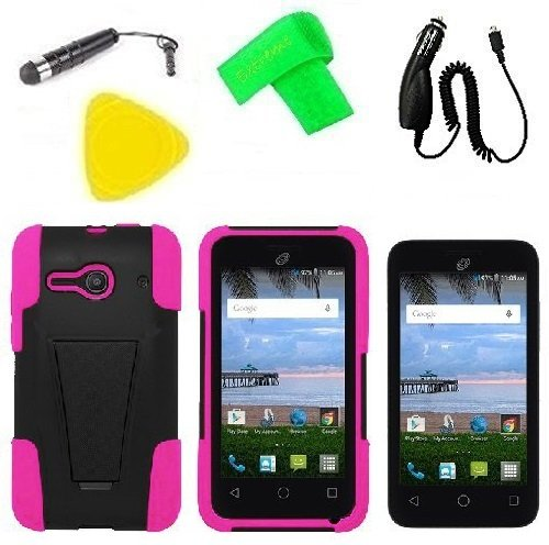 Heavy Duty Hybrid Phone Cover Case Cell Phone Accessory + Car Charger + Screen Protector + Extreme Band + Stylus Pen + Pry Tool For Alcatel Onetouch Pixi PULSAR LTE A460G (T-Stand Black Pink) -  ExtremeCases