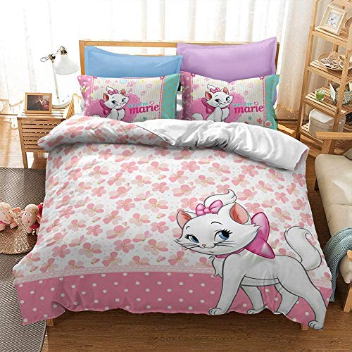 XZHYMJ The Aristocats duvet cover set Disney series suitable for Christmas and New Year gifts soft microfiber three-piece duvet cover and pillowcase08_Super King 220X260CM