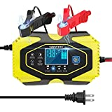 ShentecCar Battery Charger and Maintainer 12V 6A / 24V 3A, Smart 7-Stage LCD Display Automotive Trickle Charger for Car,Motorcycle, Lead-Acid Battery