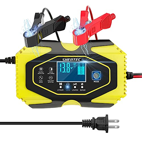 ShentecCar Battery Charger and Maintainer 12V 6A / 24V 3A, Smart 7-Stage...