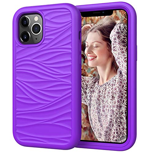 Funda para Iphone12/12 Pro/12 Pro MAX Carcasa Ondas de Rayas Suave TPU Protector Caso 3 en 1 Silicona+PC Anti Choque Caso Ultra Delgado Antideslizante Back Cover,Purple1,12