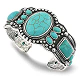 jianxi Women's Antique Rgentium Plated Base Heart Compressed Turquoise Bracelet Cuff Bangle Fashion Jewelry (1323-A)