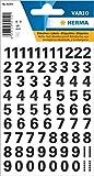 HERMA 4159 Chiffres autocollants de 0 à 9, résistants aux intempéries (taille de la police 10 mm, 1 feuille de film) autocollants permanents, 71 étiquettes, transparents/noirs