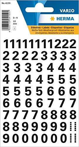 HERMA 4159 Zahlen Aufkleber 0 - 9, wetterfest (Schriftgröße 10 mm, 1 Blatt, Folie) selbstklebend, permanent haftende Ziffern Sticker, 71 Etiketten, transparent / schwarz