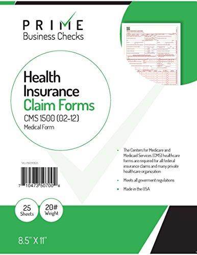 "CMS 1500 Claim Forms ""NEW"" HCFA (Version 02/12) - Health Insurance, Laser Cut Sheet - 25 Sheets Photo #2"