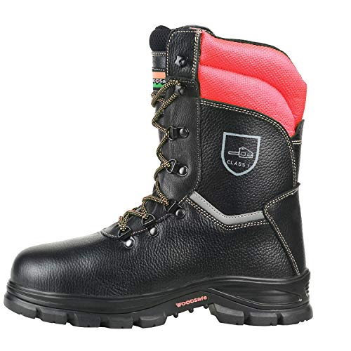 WOODSafe® Herren Schnittschutzstiefel Klasse 1 S3 schwarz/gelb - Forststiefel kwf-geprüft, Stahlkappe, durchtrittsicher, Leder, wasserabweisend, antishock (43 EU)