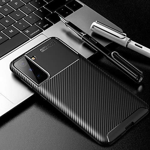 Sudoxx Funda para Samsung Galaxy S21 Plus, de silicona suave, resistente a los arañazos y los golpes, con aspecto de carbono negro