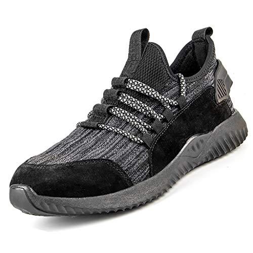 ZYFXZ NEU !Mens S3-Site Arbeitsschuhe Stiefel, atmungsaktiv Leicht Fliegen Weave Sneaker, verschleißfeste Anti-Smashing Puncture-Beweis-Flache Sicherheit Freizeitschuhe Bottes de sécurité