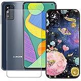 szjckj Funda para Samsung Galaxy F52 5G (6,6 Pulgadas) + Anti-caída Protector de Pantalla, Case Cover Carcasa Bumper Clear TPU Silicone Cristal Vidrio Templado - LLM38