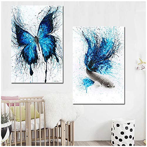 Blue Butterfly Fish Animal Canvas Painting-Poster Print Art Wall Picture-Kid Room Decorations-50x70cm...