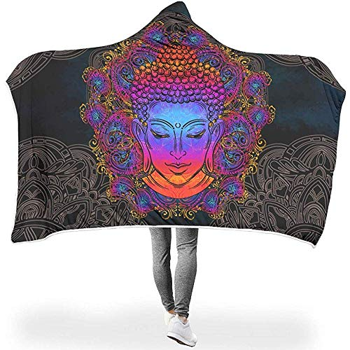 Emily-Shop Cara Lotus Magic Black Pink Manta con Capucha Throw Cloak Warm Magic Cape for Teen AdultTeenager On Sofa Bed Couch Gift White