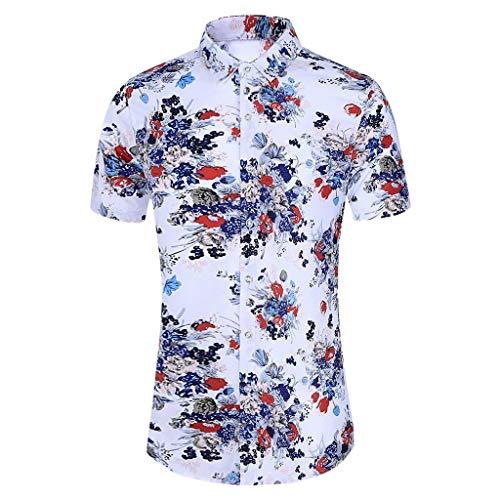 Yowablo Chemise T-Shirt Tops Mode Hommes Slim Lâche Hawaï Manches Courtes Imprimé Col Rabattu (L,4 Blanc)