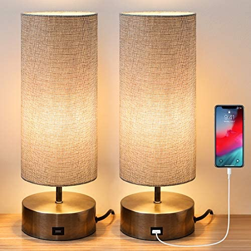 Haian 3 Way Dimmable Touch Control Table Lamp with USB Charging Port Set of 2 Modern Nightstand product image