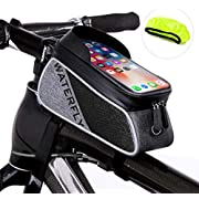 Waterfly Bike Frame Bag Waterproof Bike Front Tube Handlebar Bag Bicycle Bag with Touch Screen Phone Case for iPhone X/8/7 plus/7/6s/6 plus/5s