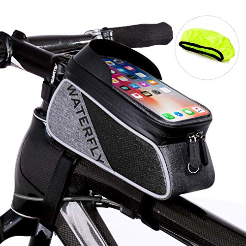 WATERFLY Bike Frame Bag Waterproof Bike Phone Mount Handlebar Bag Bike Accessories with Touch Screen Phone Holder Bag for iPhone X/8/7 plus/7/6s/6 plus/5s (Black)