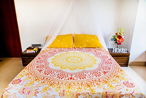 Sunflower Tapestry or Yellow Mandala Bedding with Pillow Covers, Indian Bohemian Wall Hanging, Picnic Blanket or Hippie Beach Throw Ombre Bedspread for Bedroom, Queen Size Yellow Tapestry Boho Spread