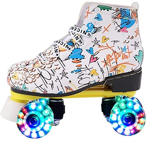 Rolschaatsen Dames - Quad Roller Skates, Double Right Light Up Skating, PU Lederen Materiaal Microfiber voor Beginners Tieners Kinderen Volwassen