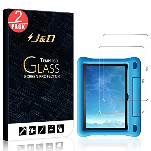 J&D Compatible para Amazon All-New Fire HD 8 Kids Edition 2020 Protector de Pantalla, 2-Pack [Vidrio Templado] [No Cobertura Completa] Cristal Templado Protector de Pantalla a Fire HD 8 Kids Edition