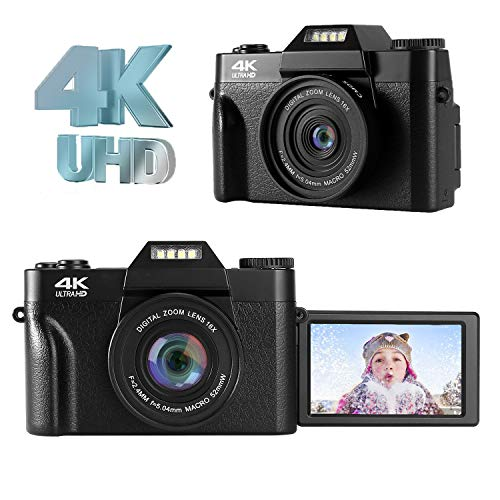 LongOu Digitalkamera Fotoapparat Figitalkamera 4K 48.0MP Ultra HD Kompaktkamera 16-facher Digitalzoom,Schwarz