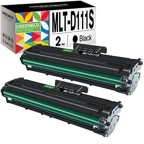 GREENBOX Compatible Toner Cartridge Replacement for Samsung MLT-D111S MLTD111S MLT111S D111S for Samsung Xpress SL-M2020 SL-M2020W SL-M2070 SL-M2070FW SL-M2022 SL-M2022W (2 Black)