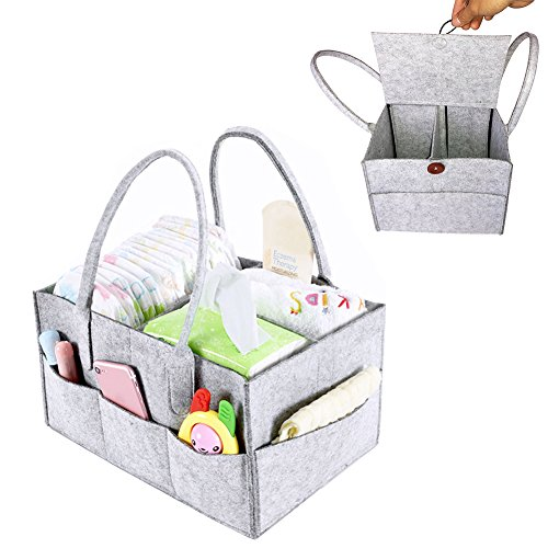 PER Filz Baby Windel Caddy Organizer Korb tragbar Storage Bin groß Kindergarten Tasche mit herausnehmbaren Trennwänden für Wickelkommode, Beißring, Windel, Lätzchen Best Baby Dusche Geschenk Korb