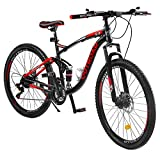 Outroad Mountain Bike 27.5 inch 21 Speed Road Bike Commuter Bicycle, Black&Red