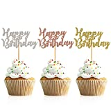 Package includes: 48 pieces of happy birthday cake toppers, including 3 colors and 16 pieces for each color. They will add a classy touch to any birthday party They will add a classy touch to any birthday party These adorable cupcake toppers are perf...