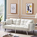 Olela Sleeper Sofa Bed Modern Tuft Futon Couch Convertible Loveseat Sleeper Reclining Sofa Bed Twin Size with Arms and 2 Pillows for Living Room, Cream