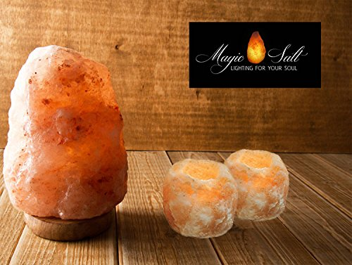 Ensemble lampe à sel, supports 1 lampe & 2 bougies MAGIC SALT LIGHTING FOR YOUR SOUL