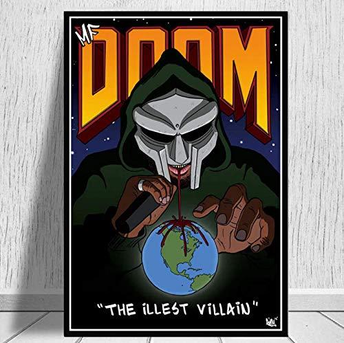 ysldtty Poster Drucke Madvillain Mf Doom Madlib Hip Hop Rap Musikalbum Star Art Leinwand Malerei Wandbilder Home Decor E414 Rahmenlos 40cmx60cm
