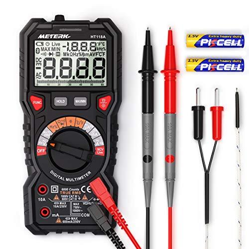 Multímetro Digital Profesional, Meterk Amperímetro, Tester Digital 6000 Conteos y RMS Automático Voltímetro con NCV, Polimetro Mide Voltaje y Corriente, Ohmímetro Continuidad con LCD Retroiluminada.