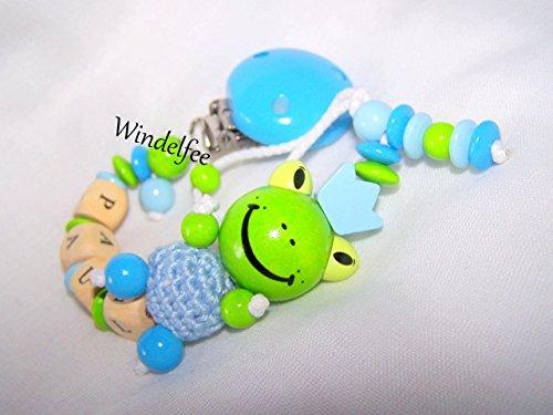 Schnullerkette mit Wunschnamen, Frosch, Prinz, Geschenk zur Geburt, Taufe, Babyparty...