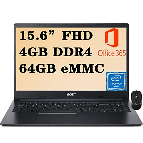 Flagship Acer Aspire 1 15 Laptop Computer 15.6' FHD ComfyView Display Intel Celeron N4020 Processor 4GB DDR4 64GB eMMC WiFi HDMI RJ-45 Webcam Microsoft 365 Win 10 + iCarp Wireless Mouse