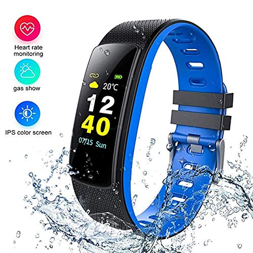 i6HR-C Fitness Armband Uhr mit Pulsmesser Wasserdicht IP67 Fitness Tracker Aktivitätstracker Pulsuhren Bluetooth Smart Armbanduhr ür iPhone Android Handymonitor (Blue)