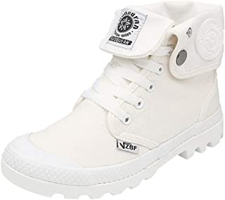 Creazrise Men's Women's Lace-UP Outdoor Canvas Combat High top Sneaker Field Paladin Boots (White,7)