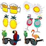 HOWAF 6 Pares Tropical Gafas de Sol Divertidas, Hawaianas Fiestas Gafas para Tropical Playa Luau Fiesta Accesorios, Piña Flamenco Loro Gafas para Aloha Verano Piscina Tiki Fiesta Disfraces Decoración