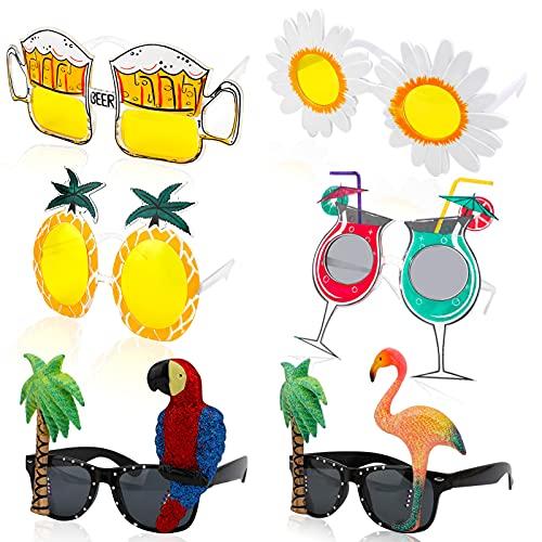 HOWAF 6 Paar Hawaii Party Brille für Tropisch Sommer Party Zubehör, Neuheit Sonnenbrille für Kinder Erwachsene Pool Tiki BBQ Luau Party Brillen Foto Requisiten, Ananas Flamingo Kokosnuss Papagei Bier