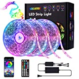 AOGUERBE Led Strip Lights 49.2FT/15M Music Sync Color Changing Light Strip with 44-Keys