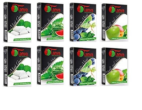 Tanya Herbal Hookah Shisha Flavors, Tobacco & Nicotine Free, Mint Lovers Variety Pack, 50-Gram (Pack of 10)