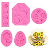 JOERSH Sunflower Fondant Mold,5 Pack Sunflower and Butterfly Silicone Mold Cake Topper Decoration...