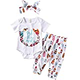 Newborn Baby Girl Coming Home Outfit Isn't She Lovely Bodysuits+Pants+Headband White