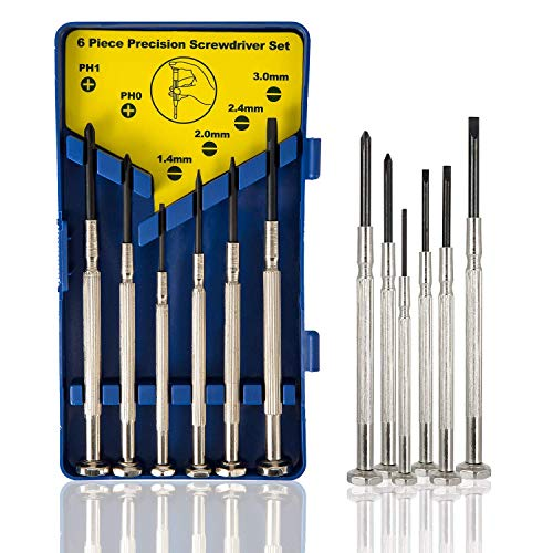 6Pcs Mini Screwdriver Set, Eyeglass Repair Screwdriver, Precision Repair Tool Kit with 6 Different Size Flathead and Philips Screwdrivers, Ideal for Watch, Jewelers