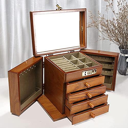 10 Caja de almacenamiento de madera de gran organizador de joyería, 5 capas con 4 cajones caja de almacenamiento de joyería de madera para mujer