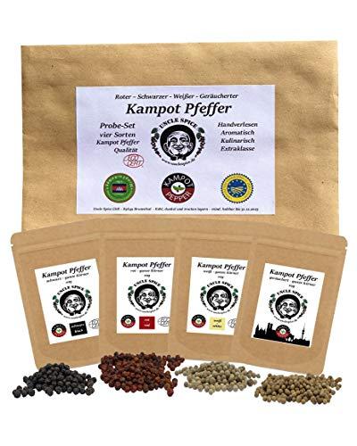 Uncle Spice - Kampot Pfeffer Probeset - 4x10g echter Kampot Pfeffer rot, schwarz, weiß, geräuchert - Premiumqualität - ganze sonnengetrocknete Pfefferbeeren, aus Kambodscha