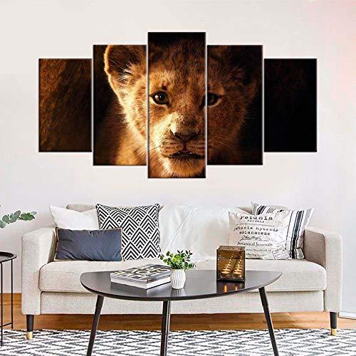 VKEXVDR 5 Cuadros en Lienzo Película de León Impresión HD, Diseño de la Naturaleza, con Marco Creativo