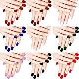 216 Pieces Short False Nails Square Matte Artificial Fake Nail Full Cover Coffin Press on Nails Colorful Solid Color...