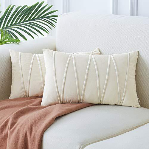 Topfinel 2 Juegos Hogar Cojines Terciopelo Suave Decorativa Almohadas Fundas de Color Sólido para Sala de Estar sofás 30x50cm Crema