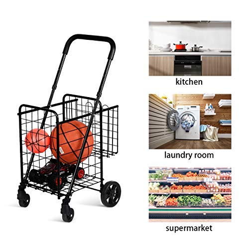 Happygrill Foldable Shopping Cart for Luggage Travel Grocery, Durable Metal Push Cart with Double Basket and Swivel Wheels